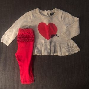 Love you sweater and red leggings 12-18 months